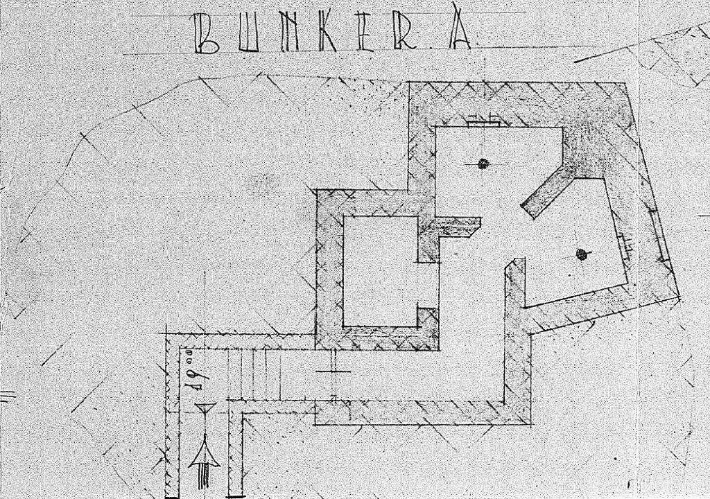 Plattegrond van de enige overgebleven Duitse bunker in het Valkhof. De huidige Valkhofbunker.