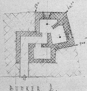 Plattegrond van de Duitse bunker aan de zijde van de Voerweg. Deze heeft er gestaan van 1943 tot 1984.
