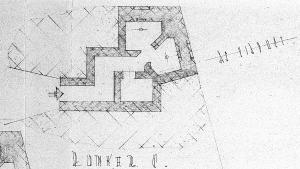 Plattegrond van de Duitse bunker welke van 1943-1947 bij het viaduct over de Voerweg stond.