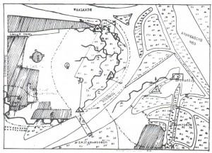 Verzetskaart door Jan van Hoof doorgestuurd naar London in maart 1944 met daarop een deel van de loopgraven. De driehoeken zijn de drie bunkers en de gearceerde gebieden versterkte gebouwen.